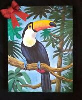 Tucan bird painting gift pet tropical  original artist acrylic on canvas