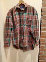 Ralph Lauren Womens sz 10  Plaid Long Sleeve Tomboy Flannel Shirt L Oversized