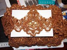 Vestido de novia 11cm bronce marrón bordado Venise encaje boda de cuentas de adorno de Baile de graduación