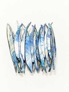 Artisan Blue Shell Long Wide Shard Stretch Bracelet Beach Nautical