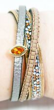 Multi Strain Bracelet Amber Rhinestone Copper Leather Metal Clasp New