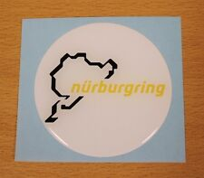 Nurburgring White/Yellow Sticker/Decal - 70mm HIGH GLOSS DOMED GEL FINISH