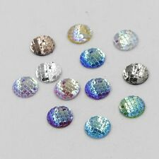 50PCS 12mm Cabochons Cameo Jewelry Accessories Resin Beads Fish Scales Style