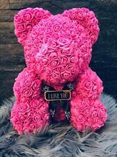 Rosenbär 40cm Rosen Bär PINK ROSA Blumen Bär Rosen Rose Baer Teddybär MIT GRAVUR