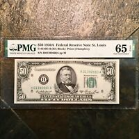 1950A $50 FRN GRANT PMG 65 EPQ GEM UNCIRCULATED TOP POP FINEST KNOWN FIFTY