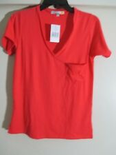 C&C California Women's V neck red  T-Shirt with pocket firecracker  Size S NWT