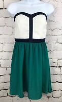 Color Block Strapless Summer White Bodice with Blue Piping, Green Skirt Medium