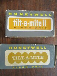 2 Vintage Honeywell Tilt-A-Mite Camera Flash Unit with Original Case