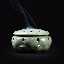 China Longquan Porcelain Incense Burner HandMade Lotus Ceramic Cones Sticks Coil