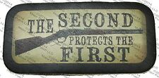 LEATHER PATCH THE SECOND AMENDMENT PROTECTS THE FIRST MOTORCYCLE BIKER VEST