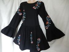 Vintage Style tunic Dress Smock Embroidered Floral Boho 60's 70's 10 38 US 6