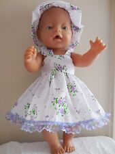 "BABY BORN 17"" DOLLS CLOTHES WHITE WITH PURPLE FLOWERS SUMMER OUTFIT"