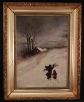Antique c1880 American Folk Art Oil Painting~Mother & Child~Winter Snow Scene