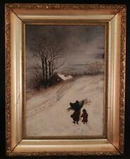 Antique c1880 American Folk Art Oil Painting~Mother & Child~Winter Snow Scene