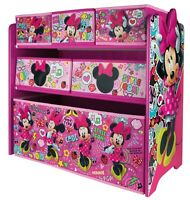 Minnie Mouse 6 Drawer Wooden Toy Storage Organiser Children Bedroom Play Room
