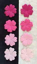 """40 Lot Pink Handmade Mulberry Paper Flowers petals Assortment Fuchsia Pinks 1"""""""