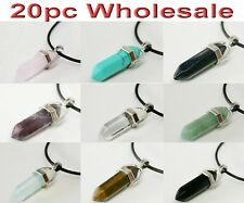 20pc Wholesale Natural Crystal Amethyst Gemstone Pendant Necklace Mix