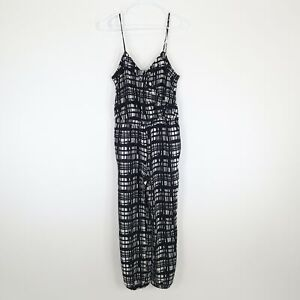 Madewell Faux Wrap Cami Jumpsuit XS Brushstroke Plaid Black White Ankle Tie