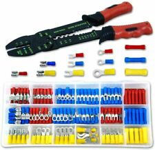 New 175pc Solderless Crimp On Crimpable Wire Terminal Connector Ends w/ Stripper