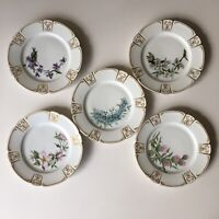 """5 Antique Limoges Style 7.5"""" Plates Signed C.C.H. Dated 1897"""