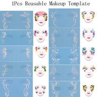 1x Reusable Soft Face Paint Stencil Diy Facial Design Makeup Painting Templat DD