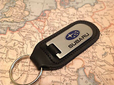 SUBARU Key Ring Etched and infilled On Leather STI WRX