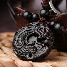 Ebony Wood Carving Chinese Dragon Carp Sculpture Pendant Key Chain Keyring Black
