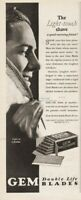 1928 Safety Razor Brooklyn NY Gem Shaving Blades Light Touch Shave Feather Ad