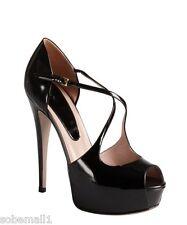 Gucci Charlotte Black Leather Peep Toe Platform Pumps Heels Size 9 US/39 EU $856