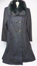 George Simonton Couture Fox Fur Long Wool Cashmere Coat Double Breasted Size 12