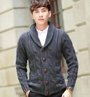 Mens Thick Knitted Cardigan Sweater Winter Wool Blend Loose Slim Coat Jacket Hot