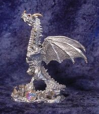 Pewter Dragon Crushing a Castle - Crystal Accents