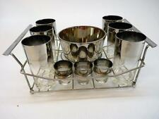 Vintage Queens Lusterware Silver Fade Ombre 14 Pc Set Caddy Ice Bucket Glasses
