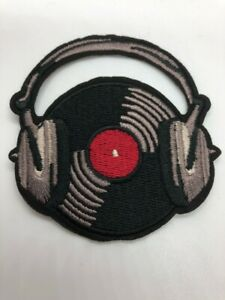 Record With Headphones Embroidered Iron On Patch - Music Album