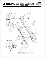 Delta Rockwell 12 Inch Gap Bed Wood Lathe Parts Manual