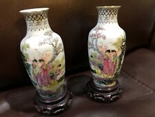 Set Of 2 Family Rose Vases China With Stand