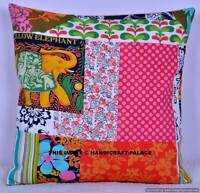 """16"""" INDIAN PATCHWORK LOOK COTTON CUSHION COVER THROW PILLOW CASE HOME SOFA DECOR"""