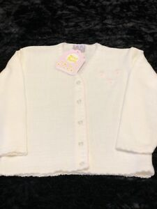 NEW GIRLS IVORY KNITTED CARDIGAN BY DIZZY DAISY 2-6 YEARS PALE PINK FLOWER PARTY