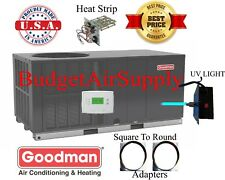 "5 Ton 14 seer Goodman HEAT PUMP""All in One""Package Unit GPH1460H4+Sq2Rd+Uv+heatr"