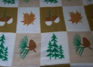 Patchwork Fleece Blanket - Acorns, Pine Trees and Cones