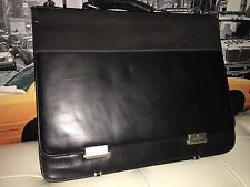 TOSHIBA BLACK GENUINE LEATHER BRIEFCASE LAPTOP BAG WITH TECH AIR 16""