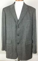 J.Crew Mens Suit Jacket Herringbone Blazer Gray Wool Cashmere Blend Size 46L
