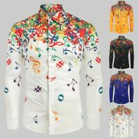 Mens Casual Novelty Musical Note Pattern Casual Long Sleeves Shirt Top Blouse US