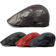 Unisex Mens Leather Newsboy Cabbie Ivy Caps Duckbill Golf Beret Flat Baker  Hats a27aebaa322