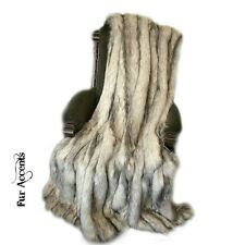 Premium Faux Fur Throw Blanket - Gray Stripe Fox - Minky Cuddle Fur Lining 5x6