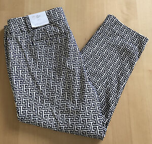 NWT Ann Taylor Loft The Riviera Pant Cropped Marisa Fit Size 12P Navy/White