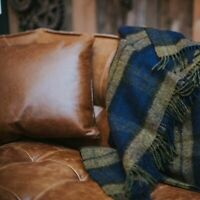 The Weaving Shed UK Wool Blanket Navy/Olive Plaid Throw