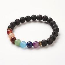 Natural Lava Rock 7 Chakras Gemstone Stretch Bracelet UK