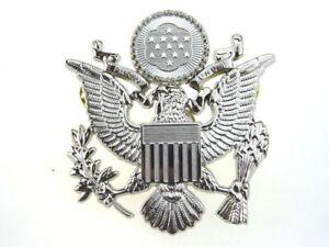 WWII US AIR FORCE CAP BADGE PIN METAL USAF HAT BADGE SILVER