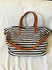 NU-G *PRINTED OVERSIZED TRAVEL* TOTE NAVY STRIPE *NEW*